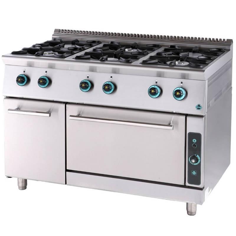 Κουζίνα αερίου 6 εστίες με φούρνο και ερμάριο FC6FS7 750 SERGAS