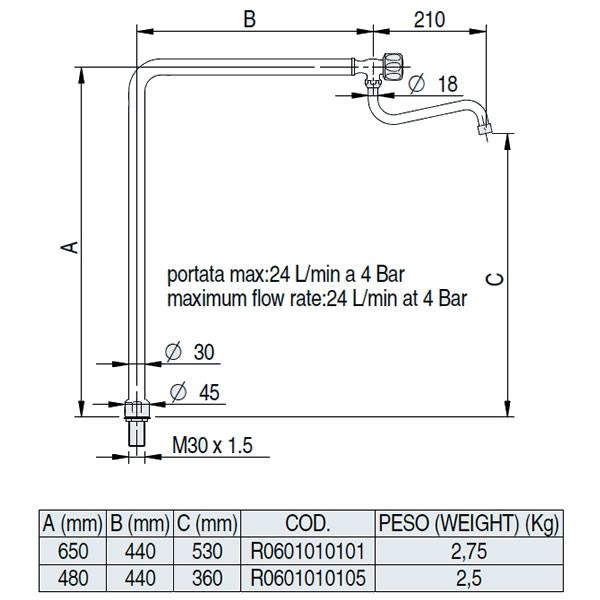 Βρύση επαγγελματικής κουζίνας 65cm Monolith